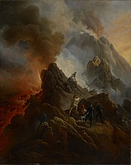 The Vesuvius Erupting, the Artist and His Father, Carle Vernet, in the Foreground