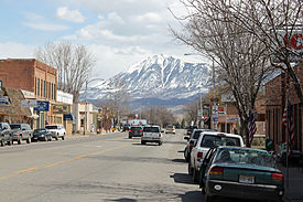 East Bridge Street in Hotchkiss, looking towards Mt. Lamborn.