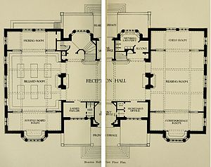 Houston Hall (University of Pennsylvania) - Image: Houston Hall 1st Floor Plan 1896