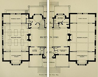 Houston Hall (University of Pennsylvania) - Image: Houston Hall 1st Floor Plan 1896