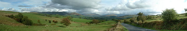 Howgills panorama taken from the A684 into Sedbergh from Kendal