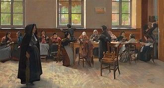 Hubert Vos - Image: Hubert Vos's painting 'The Knitting Room