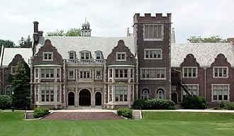 Hobart and William Smith Colleges - The iconic Coxe Hall, fronting the Hobart Quad.  The building, named for Bishop Arthur Cleveland Coxe, is an excellent example of Jacobean architecture.