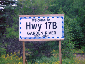Ontario Highway 17B - Unofficial Highway 17B sign placed by the Garden River first nations