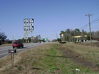 Georgia State Route 7 - Southern terminus of US 41 Bus./SR 7 Bus. southeast of Valdosta