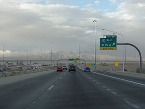 Interstate 19 - I-19 northbound at the I-10 interchange; the downtown Tucson skyline can be seen on the left.