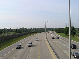 Interstate 355 - I-355 at the Illinois Prairie Path, looking south towards Downers Grove in the distance