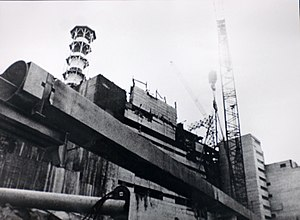 Chernobyl Nuclear Power Plant sarcophagus - Preparatory steps for mounting the sarcophagus in 1986