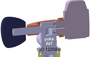 Diving cylinder - Section view of A-clamp-, yoke- or INT-valve, showing the sealing surfaces, according to ISO 12209-3