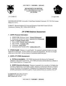ISN 00121, Salman S Mohammed's Guantanamo detainee assessment.pdf