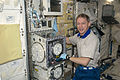 ISS-20 Frank De Winne works at the Clean Bench Facility in the Kibo lab.jpg