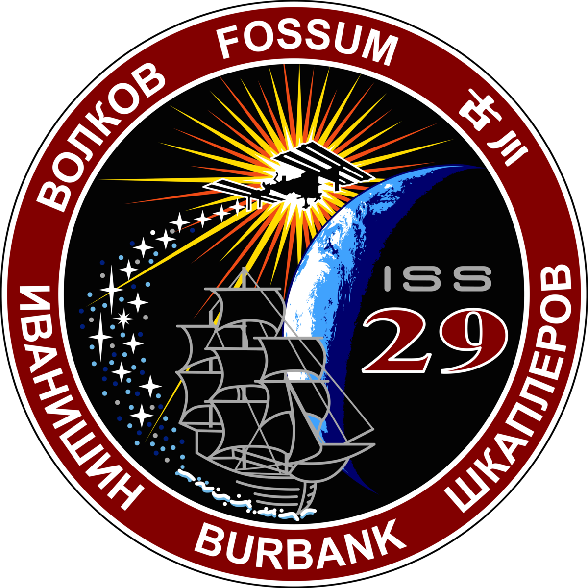 Mission Patches On Mission 4 To The International Space: Expedition 29