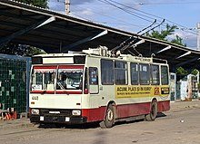 Iasi two-axle Rocar trolleybus 448, ex-articulated, at CUG 2 terminus in June 2005.jpg