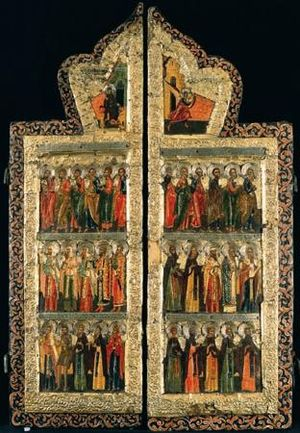 Royal doors - Holy Doors depicting (from top to bottom): the Annunciation, Twelve Apostles, and Saints