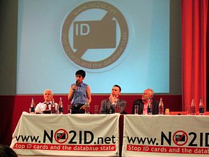 NO2ID - Meeting in London against ID cards, 2005. Left to right, the speakers are Tony Benn, Shami Chakrabarti, Mark Littlewood and George Galloway.