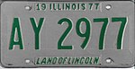 Illinois 1977 license plate - Number AY 2977.jpg