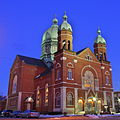 Immaculate Conception Catholic Church (Celina, Ohio) - exterior, at dawn1.jpg