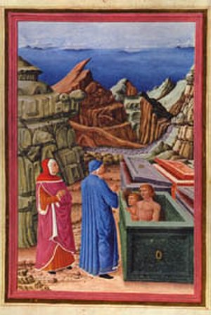 Guido Cavalcanti - Dante and Virgil talking to Cavalcante de' Cavalcanti, father of Guido, in a scene from Dante's Inferno