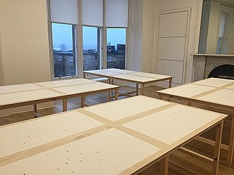 The Common Guild - Exhibition space at The Common Guild during Janice Kerbel's 'Notes from Sink' (2018), the last exhibition held at 21 Woodlands Terrace.