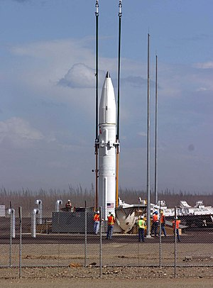 Militarisation of space - A Ground-Based Interceptor, designed to destroy incoming Intercontinental ballistic missiles, is lowered into its silo at the missile defence complex at Fort Greely, Alaska, July 22, 2004.