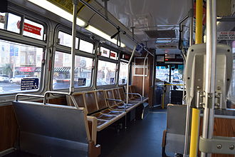 Trolleybuses in San Francisco - Interior of an ETI (Škoda/AAI) 14TrSF trolleybus
