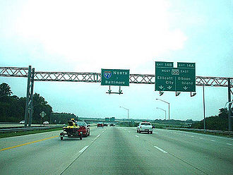 Interstate 97 - I-97 northbound at the MD 100 interchange in Glen Burnie.