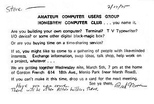 Hackers: Heroes of the Computer Revolution - Invitation to first Homebrew Computer Club meeting.