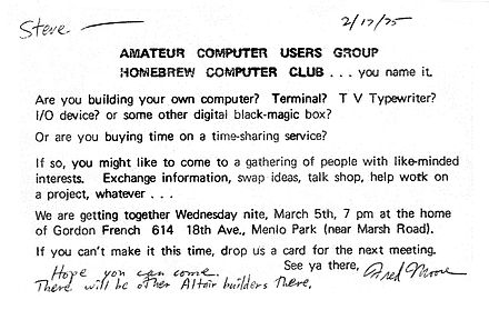 Invitation to first Homebrew Computer Club meeting, 1975. Invitation to First Homebrew Computer Club meeting.jpg