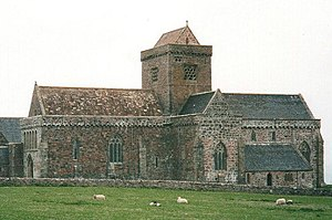 Hinba - The restored Iona Abbey. In Columba's day all church buildings would have been constructed from wood.