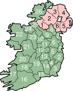 Map of Ireland with numbered counties.