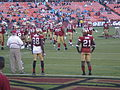 Isaac Bruce & Frank Gore on field pregame 8-29-08 2.JPG