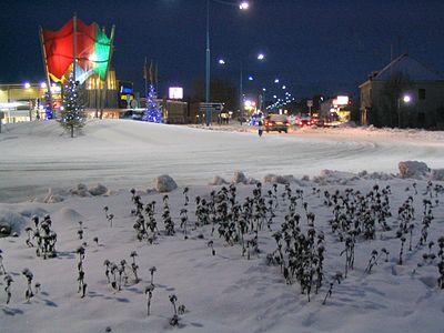 Rondellen på huvudväg 4, utanför Ivalo