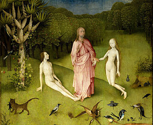 The Creation structure - Adam and Eve, topic of the oratorio's Part III, in The Garden of Earthly Delights by Hieronymus Bosch