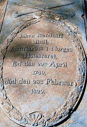 Johan Randulf Bull - From his headstone at Larvik church.