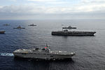 JS Hyūga (DDH-181) in formation with USS George Washington in the East China Sea after Keen Sword 2013, -16 Nov. 2012 a.jpg