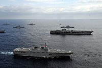 JS Hyūga (DDH-181) in formation with USS George Washington in the East China Sea after Keen Sword 2013, -16 Nov. 2012 a