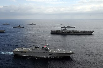 Hyūga-class helicopter destroyer - Image: JS Hyūga (DDH 181) in formation with USS George Washington in the East China Sea after Keen Sword 2013, 16 Nov. 2012 a