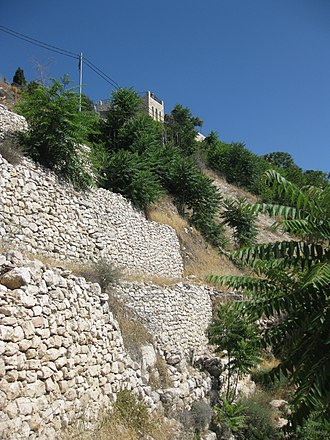 City of David - Ancient city wall facing the Kidron Valley