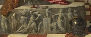 Jacopo Pesaro being presented by Pope Alexander VI to Saint Peter - Detail of the frieze and helmet