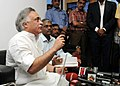 Jairam Ramesh addressing the media after signing agreement between Ministry of Environment and Forests and Ms IIC, Hyderabad about 'Digital Aerial Photography which will be used for hazard mapping exercise', in New Delhi.jpg