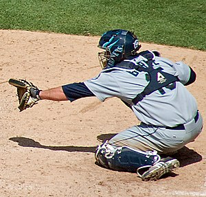 Jamie Burke - Burke behind the plate for the Mariners against the San Diego Padres