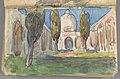 Jan Stanisławski - Sketchbook No. 2 - Landscape study - Moorish arcaded courtyard with cypresses, study of a woman with fan - two-page drawing - MNK III-r.a-1907-55 - National Museum Kraków.jpg