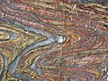 Jaspilite banded iron formation (Soudan Iron-Formation, Neoarchean, ~2.69 Ga; Stuntz Bay Road outcrop, Soudan Underground State Park, Soudan, Minnesota, USA) 13 (19038831389).jpg
