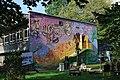 Jedrus center building, mural designed (2016) by Joel Bergner, 6a osiedle Centrum A, Nowa Huta, Krakow, Poland.jpg