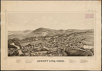 Jewett City, Connecticut - Print of Jewett City from 1889 by L.R.. Burleigh with listing of landmarks