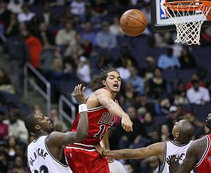 Joakim Noah - Noah blocking a shot against the Washington Wizards.
