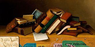 William Harnett - Job Lot Cheap, oil on canvas, 1878. Reynolda House Museum of American Art