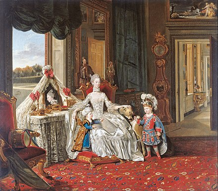 Queen Charlotte with her Two Eldest Sons, Johan Zoffany, 1765 Johan Zoffany - Queen Charlotte (1744-1818) with her Two Eldest Sons - Google Art Project.jpg