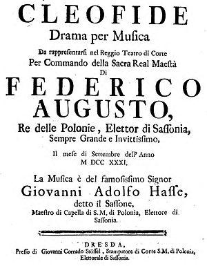 Cleofide - Title page of the original libretto
