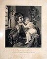 Johann August Eduard Mandel (1810 – 1882), Kupferstich, Der Krieger und sein Kind, nach T. Hildebrandt, D1408.jpg